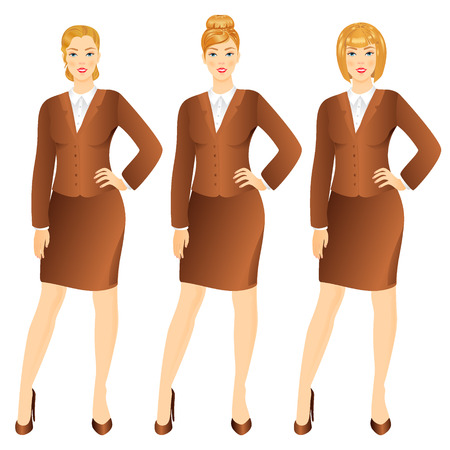 businesswoman skirt: Successful business woman in suit  set vector illustration