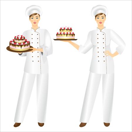 confectioner: Vector illustration of smiling confectioner  with a fresh cake. Illustration