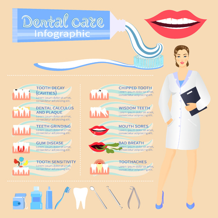 Dental problem health care, health elements infographic 일러스트