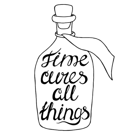 cures: Time cures all things-handdrawn typography design element. Vector lettering.