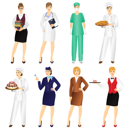 see a doctor: Set of professional woman in uniform isolated on white background.