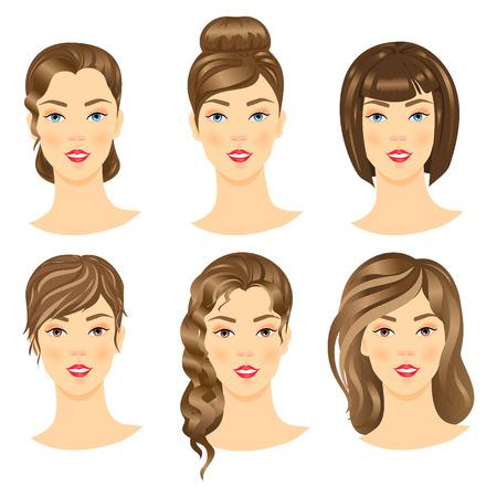 femme dessin: Ensemble de filles mignonnes avec différents hairstyles.Vector illustration.