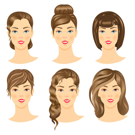 long hair: Set of cute girls with different hairstyles.Vector illustration. Illustration