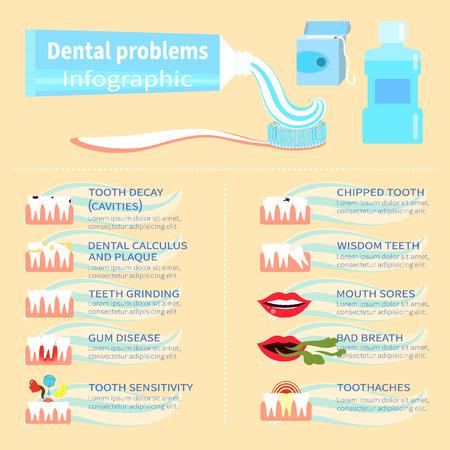 Dental problem health care, health elements infographic Illustration