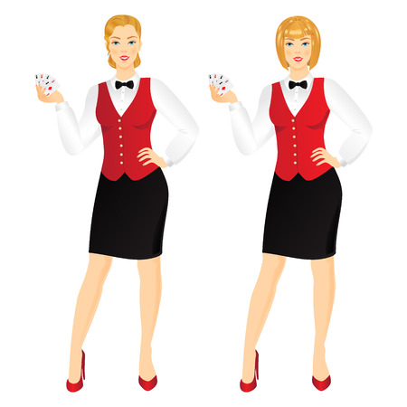 casino dealer: Attractive young woman casino dealer with cards