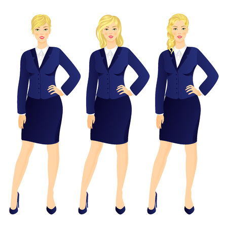 executive women: Successful business woman in suit  set vector illustration