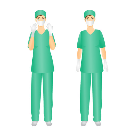 protective gown: Medical Staff, Surgeon woman- Isolated On White Background - Vector Illustration Illustration