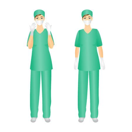 Medical Staff, Surgeon woman- Isolated On White Background - Vector Illustration Illustration