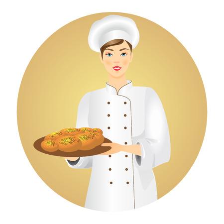 Junger weiblicher Bäcker mit einem frischen Brot. Vektorabbildung. Vektorgrafik