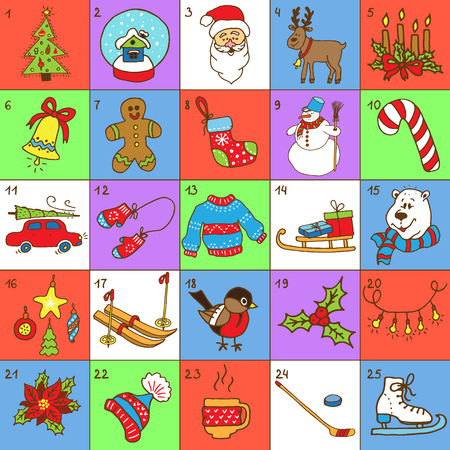 advent: Christmas Advent Calendar.Big collection of Christmas doodles elements. Design set for winter holidays decoration.