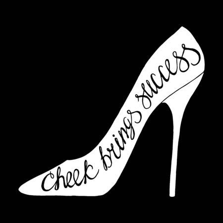 cheek: Cheek brings success-handdrawn typography design element. Vector lettering.