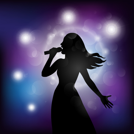 isolation: Vector illustration of a  woman singing with a microphone on the stage.