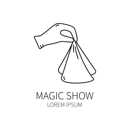 conjurer: Line style icon template with magician hand. Isolated on white background .