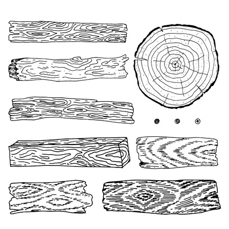 Mano dibuja la ilustración del vector de elementos de material de madera.