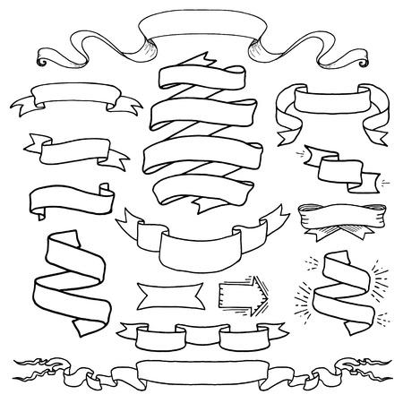 ヴィンテージ手描きデザイン要素を設定します。ページ装飾バナー リボンです。装飾の華やかなフレームです。 テキスト メッセージのための場所
