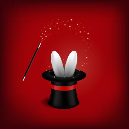 mago: Sombrero de mago con mago Wand.Vector ilustración. Vectores