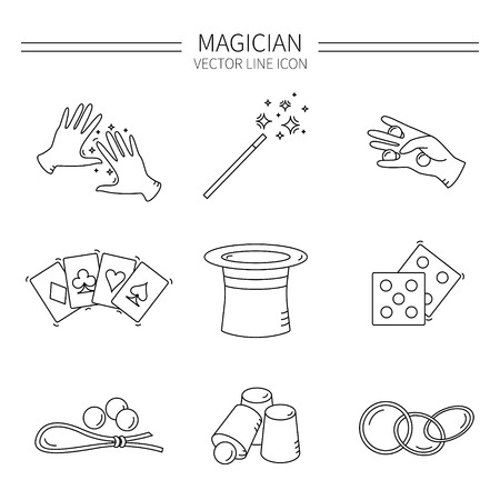 illusionist: Set of vector line magician icons.Magic show.