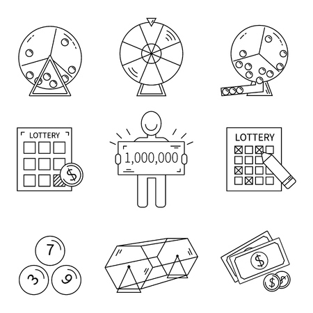 gambling counter: Lottery line icons set isolated vector illustration.