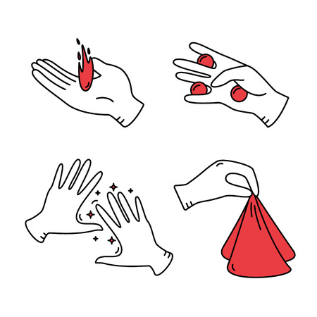 conjurer: Set of vector line magician icons.Magic show.