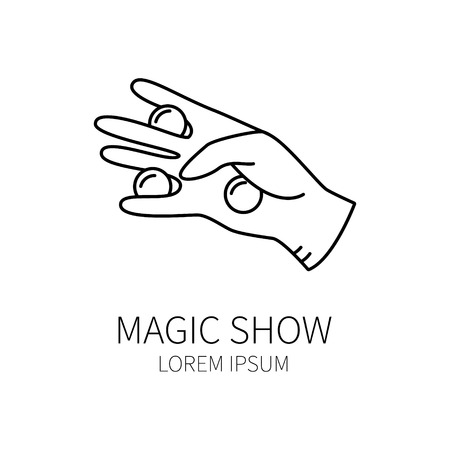 conjurer: Line style logotype template with magician hand. Isolated on white background .