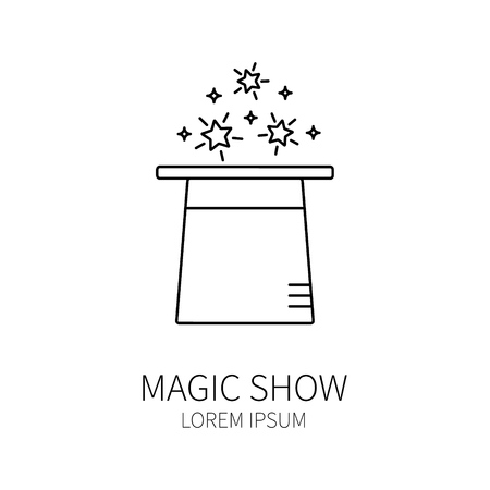 conjurer: Line style icon template with magic hat. Isolated on white background .