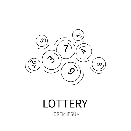 gambling counter: Lottery number balls line icon isolated on white background vector illustration.