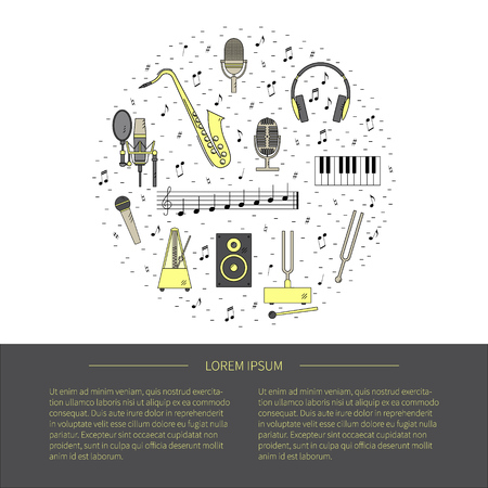 tuning fork: Flyer in line style.Set of  vector line icons.Microphones,music speaker,headphone, tuning fork,notes, piano keys, saxophone.