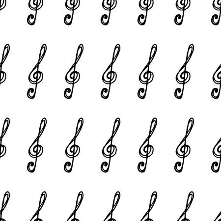Seamless pattern of treble clef.Vector illustration.