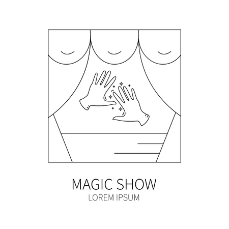 conjurer: Line style logotype template with magician hands. Isolated on white background .