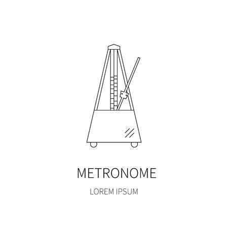 pendulum: Vector line icon of metronome with moving pendulum. Illustration