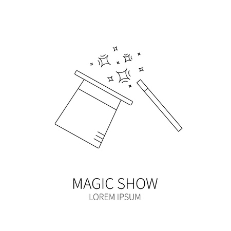 conjurer: Line style logotype template with magic hat and magic wand. Isolated on white background .