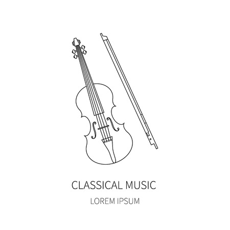 fiddlestick: Violin fiddle bow on white background.Vector line icon. Illustration