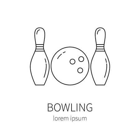 toss: Bowling line icon isolated on white background vector illustration.