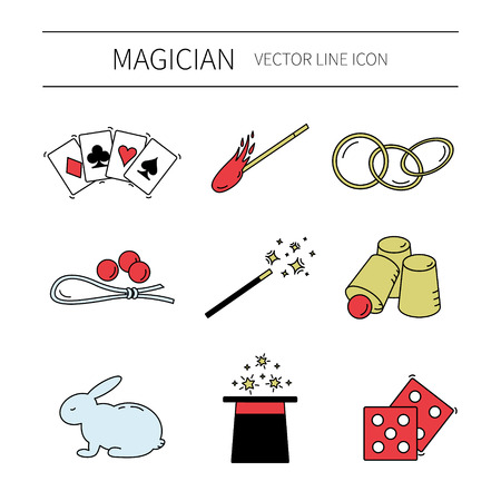 ベクター線の魔術師アイコンのセットです。マジック ショー。  イラスト・ベクター素材