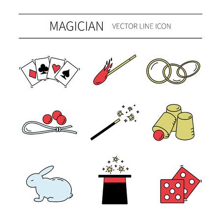 Set of vector line magician icons.Magic show.