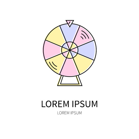 spin: Lottery line icon of spin the wheel vector illustration.