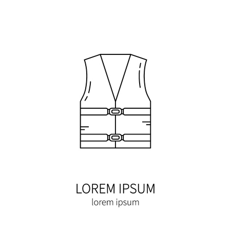 vest in isolated: Life vest line icon isolated on white background vector illustration.