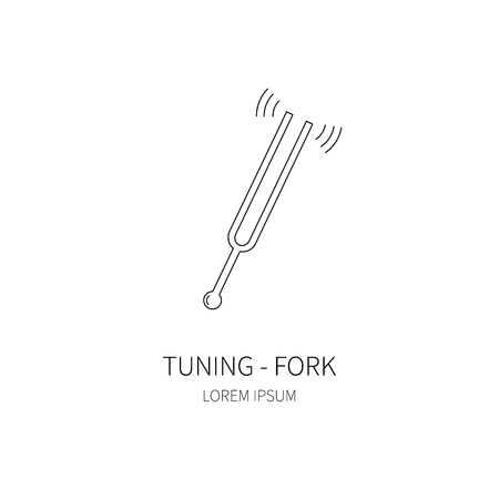 Tuning fork line icon on white background. Vector illustration.
