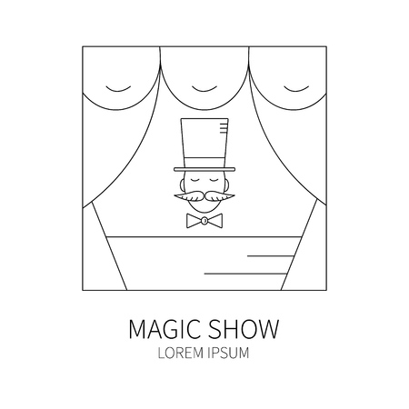 conjurer: Line style logotype template with magician. Isolated on white background .