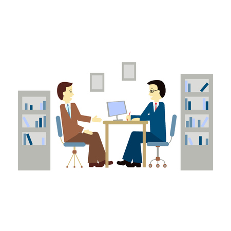 train table: Vector illustration  of a man being interviewed in flat style.