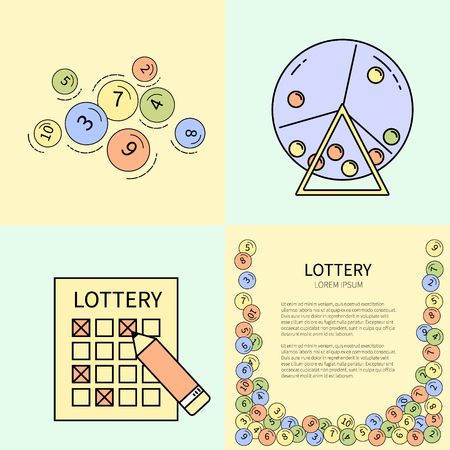 gambling counter: Set of lottery line icons.Vector line illustration.