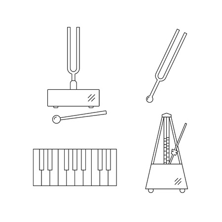 vibrate: Set of  vector line icons.Tuning fork,piano keys,metronome.