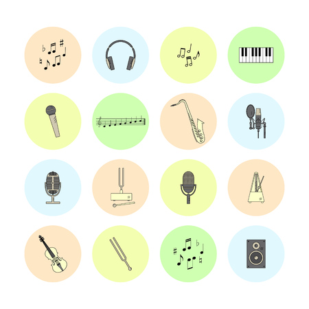 tuning fork: Set of vector line icons.Microphones,music speaker,headphone, tuning fork,notes, piano keys.