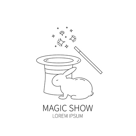 conjurer: Line style logotype template with magic hat and magic wand,rabbit. Isolated on white background .