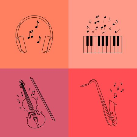 fiddle bow: Set of  vector line icons.Violin,fiddle bow,piano keys,headphone, saxophone.