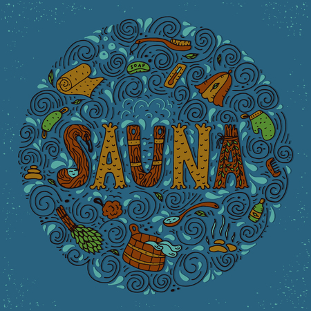 finnish: Vector background in circle shape with cartoon hand drawn sauna objects and hand lettering.