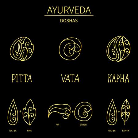 ayurvedic: Ayurvedic elements and doshas vata, pitta, kapha.Alternative medicine. Indian medicine. Holistic system.