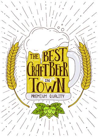町で最高の地ビール。手文字で描かれたイラストを手します。