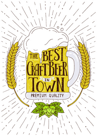 The best craft beer in town.Hand drawn illustration with hand lettering. 일러스트