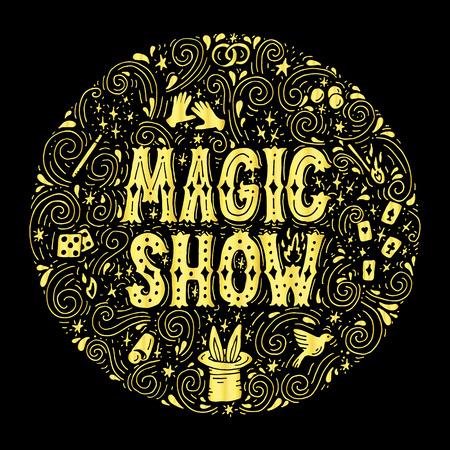 Magic trick performance, circus, show concept. Hand drawn vector illustration.